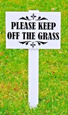 10 x 'Please Keep Off The Grass Sign' H duty, 10mm thick stake DBLE SIDED a