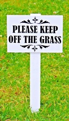3 x Please Keep Off The Grass Sign Hduty, 10mm thick stake DOUBLE SIDED BiG SIZE