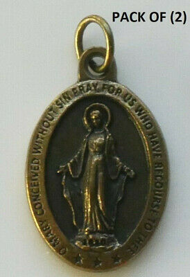 "Miraculous Brass Tone Medal 7/8"" x 5/8"" (Italy)"