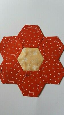 11 Patchwork Hexagon Quilt Motifs: Vintage Laura Ashley Red and peach