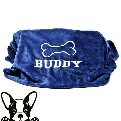 Dark Blue Hand Made Embroidered Personalised Dog Blanket 8 Colours & 2 sizes