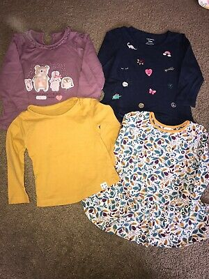 Girls Bundle Of 4 Long Sleeve Tshirts Different Brands 9-12 Months