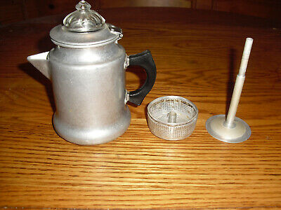 Vintage  S R & CO. Aluminum Coffee Pot 1-2 Cups Stove Top Percolator