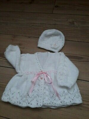 New Hand Knitted Baby Cardigan and hat
