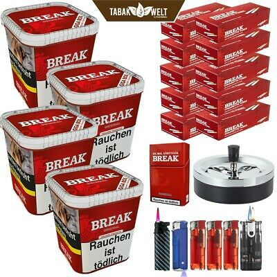 4 x Break Volumentabak Giga Box 250 g + 1600 Hülsen + Feuerz. + Etui + Uvm