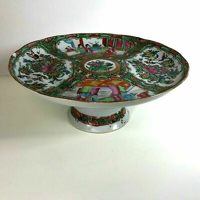 19th C Chinese Porcelain Rose Medallion Tazza Cake Stand