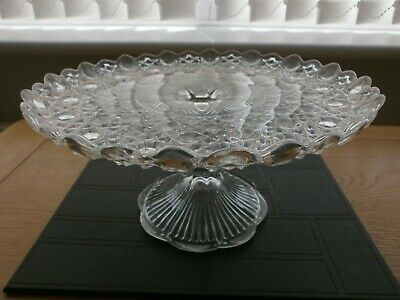 LARGE Vintage Pressed Glass Cake Stand Clear 25.5cm