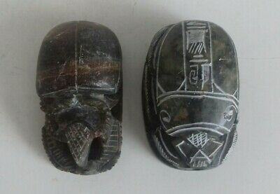 2 Antique Egyptian Hand Carved Scarab Beetle Paperweight Figurine. Hieroglyphics