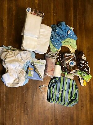 Fuzzibunz and Kawaii baby cloth diapers lot with diaper sprayer, bags, inserts