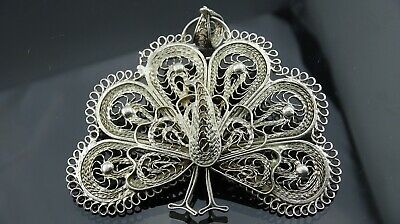 A Beautiful large silver plated peacock pendant
