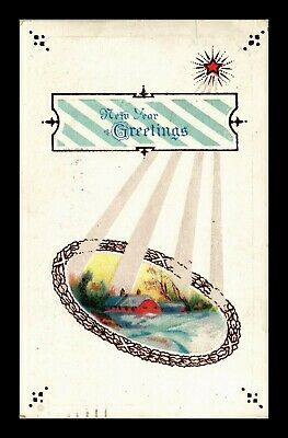 Dr Jim Stamps Us New Year Greetings Embossed Winter Scene Topical Postcard