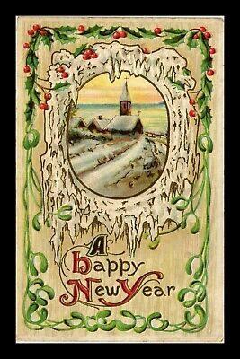 Dr Jim Stamps Us Happy New Year Winter Scene Embossed Greetings Topical Postcard