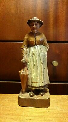 "Antique 6"" Wooden Hand Carved Woman With Umbrella Figurine Statue Italian Gift"