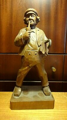 "Antique 11"" German Hand Carved Wooden Smoking Man With Umbrealla Figurine Statue"