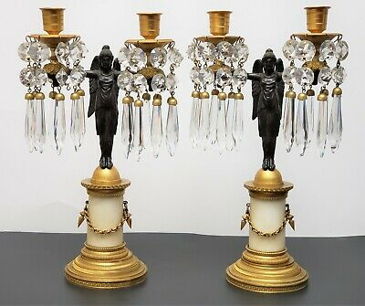 Antique French Empire Style Gilt Patinated Bronze & Marble Candelabras Lusters