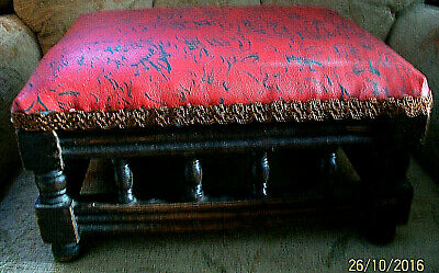 Victorian Footstool.Padded Top . Turned Spindles..Restoration or Use.
