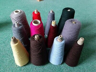 JOB LOT MACHINE KNITTING YARN ON CONES MIXTURE OF WOOL(various colour &length)