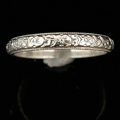 c.1920s Art Deco Era Wedding Band 18k White Gold Antique Bridal Wedding Ring