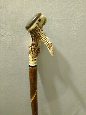 Handsome Handcrafted Chestnut And Antler Staff With Inset 1947 Farthing