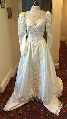 VINTAGE 1980's VICTORIAN STYLE IVORY 'SATIN' WEDDING DRESS WITH CATHEDRAL TRAIN