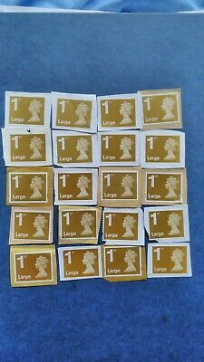 20 GB/UK/ 1st Class Large UNFRANKED Stamps ON Paper, Gold Security