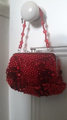 Occasion Evening Bag Beaded Vibrant Reds Choice Strap VGC