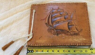 1930s SPAIN MALLORCA BARCELONA PHOTOS EMBROIDERED POST CARDS LEATHER BOUND RARE