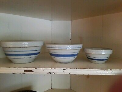 3 Antique Primitive Stoneware Country Mixing Bowls W/Blue Band