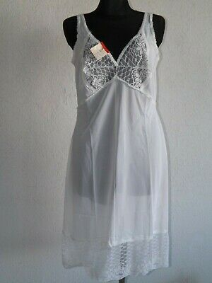 Vintage womens polyester underslip slip dress white size UK 14 16 L