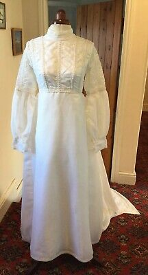 VINTAGE 1960's VICTORIAN/EDWARDIAN IVORY ORGANZA WEDDING DRESS BY LILLIAN CANTER