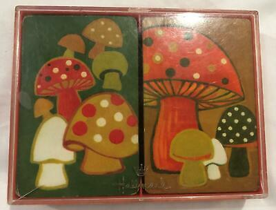 Vintage 1960's Hallmark Mod Mushroom Playing Cards in Plastic Case