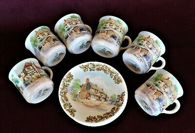 Royal Doulton cups and saucers, 'Old English Inns'.