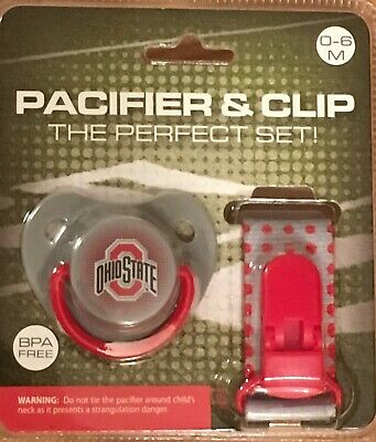 PACIFIER & CLIP Set ~ Ohio State University OSU ~ 0-6 months