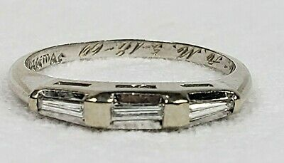 Vintage 14K White Gold And Baguette Diamond Ring Size 5.75
