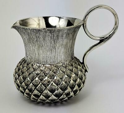 ANTIQUE SCOTTISH THISTLE SILVER PLATED CREAM JUG c1920's