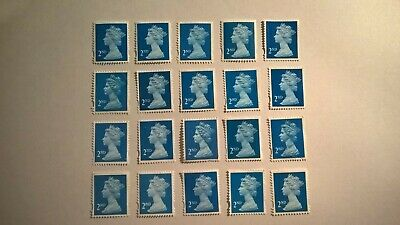 20 Unfranked Second Class Blue Stamps (Off Paper - No Gum)