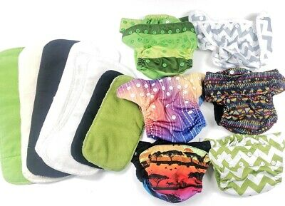 Unisex Boy Girl Cloth Reusable Nicki's (6) Diapers Covers and (8) Snap Inserts