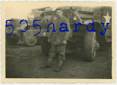 WWII US GI Photo - ID'd 824th GI (Photo Owner) & His Brockway B-666 Truck - TOP!