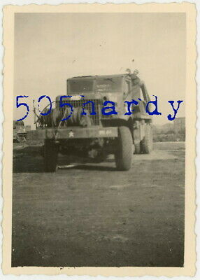 WWII US GI Photo - Brockway B-666 Bridge Erector Truck Ruby (Photo Owners Truck)
