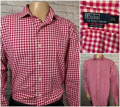 Polo Ralph Lauren 'WESTERTON' Pink & White Gingham Checker Blue Pony Men's Large