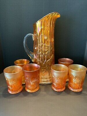 Antique Northwood Marigold Carnival Pitcher W/ 6 Matching Tumblers. Nice !!!!