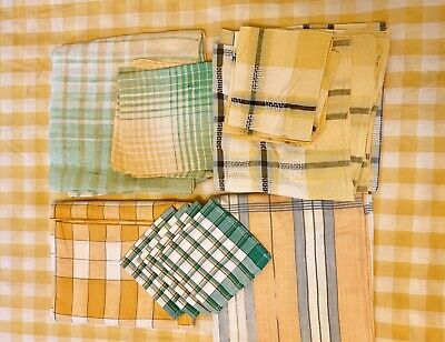 Vintage Lot Of Plaid Woven Tablecloths  & Napkins Cutter