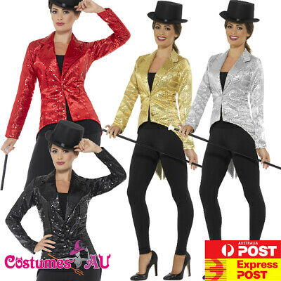 Ladies Sequin Tailcoat Costume Cabaret 20s Jazz Gatsby Magician Tail Coat Jacket