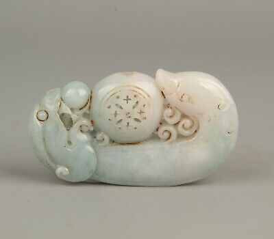 Chinese Exquisite Hand-carved beast carving Jadeite jade statue