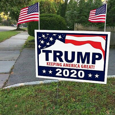 """TRUMP FOR PRESIDENT 2020 * (YY9151) 12"""" X 18"""" D/S Yard Sign * H-Frame & 2 FLAGS"""