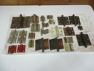 Lot of 24 Vintage Door Cabinet Hinges ASSORTED rusty decor screen barn H431