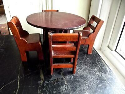 Vintage Dollhouse Miniature Wood Farmhouse Dining Room Round Table 4 Chairs 1/12