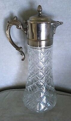 Antique Silver-Plate  & Lead Crystal Tall, Serving Decanter, Carafe Pitcher
