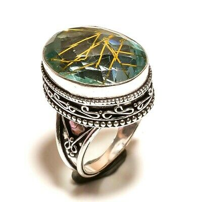 Beautiful Golden Needle Rutile Silver Carving Jewelry Ring Size 6.75 JA613