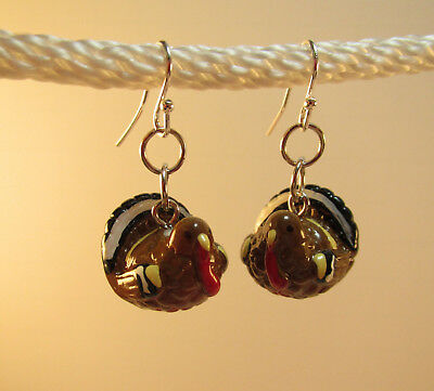 Fun UNIQUE Thanksgiving TURKEY Earrings - 3-D Hand painted Resin emay2